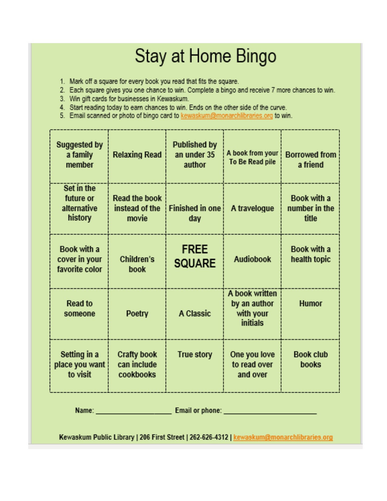 Stay at Home Bingo sheet